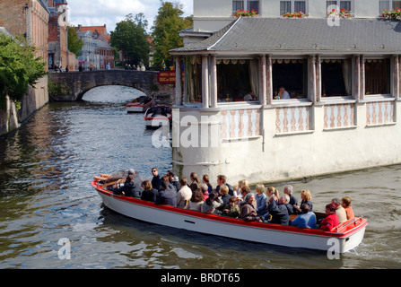 Canal trip, Bruges, Belgium, Europe - Stock Photo