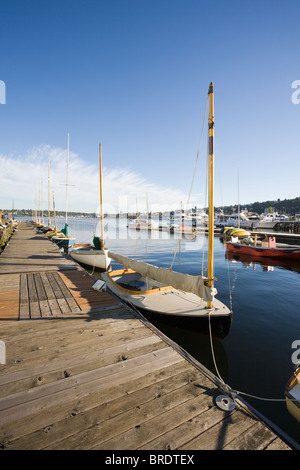 Sailboats docked at the Center for Wooden Boats - Seattle, Washington - Stock Photo