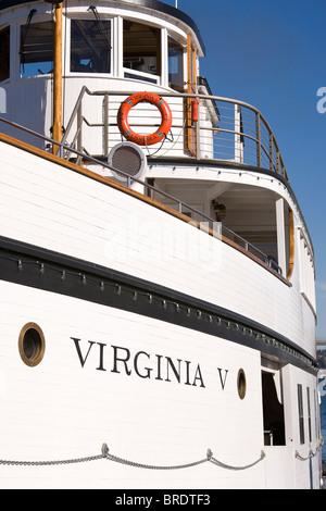 The Virginia V Steamship docked at Heritage Wharf, Lake Union Park, South Lake Union, Seattle, Washington