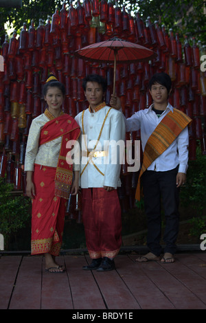 Young Laos People showing in Wedding clothes - Stock Photo