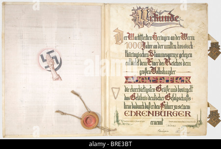 Adolf Hitler, a certificate of honorary citizenship conferred by the City of Heringen from 21st April 1933 Large - Stock Photo