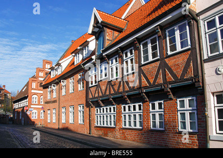 Street and historic houses in the city centre, hanseatic city of Lueneburg, Lower Saxony, Germany, Europe - Stock Photo