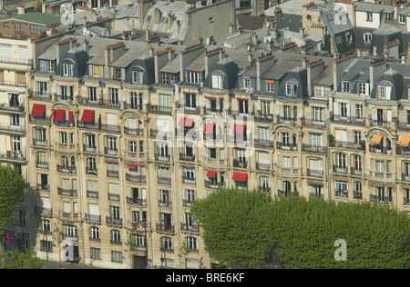 Birds eye view of buildings and roof tops in the 16th arrondissement of Paris, France. - Stock Photo