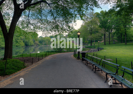 Early morning on the sidewalk in Central Park - Stock Photo