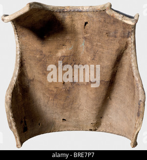 A Prussian enlisted man's cuirass, before 1740 A heavy, blackened breastplate with a slight central ridge. Pegs - Stock Photo