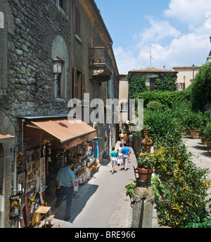 Typical street in the town centre, Republic of San Marino, Italy - Stock Photo