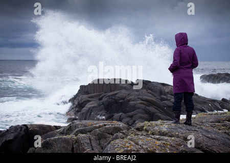 Big waves and windy conditions on the island Runde on the Atlantic west coast of Norway. - Stock Photo