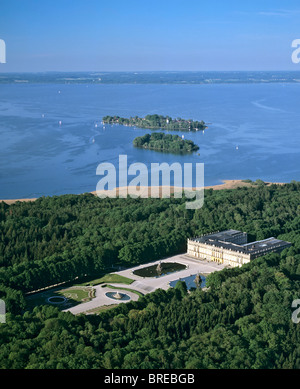 Aerial picture, Herrenchiemsee Castle, park, Herreninsel Island, in the back Frauenchiemsee Island, Frauenwoerth - Stock Photo