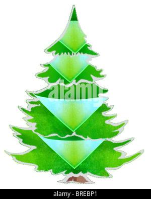 Sparkle Green Christmas tree digital illustration on white background - Stock Photo