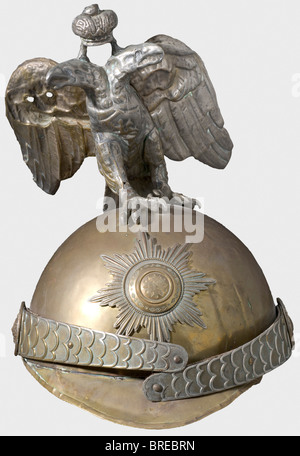 A child's helmet, Horse Guards A toy helmet for children of the pattern used by the Cuirassier Guards. Brass. White - Stock Photo