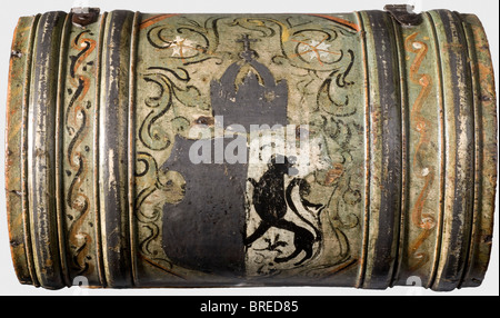 A painted casket, South Germany or Italy, circa 1600 Rectangular wooden body with a cambered, hinged lid. All sides - Stock Photo
