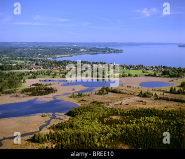Seeshaupt on Lake Starnberger See, Osterseen Lakes at front, Lake Groebensee, Grosser and Kleiner Gartensee Lakes, - Stock Photo