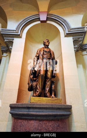 Statue of Abraham Lincoln inside State Capitol Building Springfield Illinois - Stock Photo