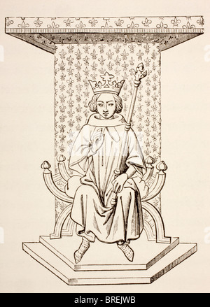 King Louis IX of France, 1214 - 1270, seated on his throne with a fleur-de-lis wall hanging behind him.