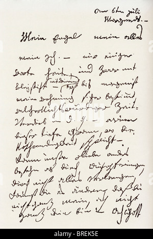 Letter from Ludwig van Beethoven to 'The Immortal Beloved'. Ludwig van Beethoven, 1770 – 1827. German composer and - Stock Photo