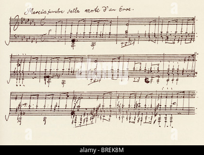 Portion of the MS. of Ludwig van Beethoven's A flat major sonata, Op 26. - Stock Photo