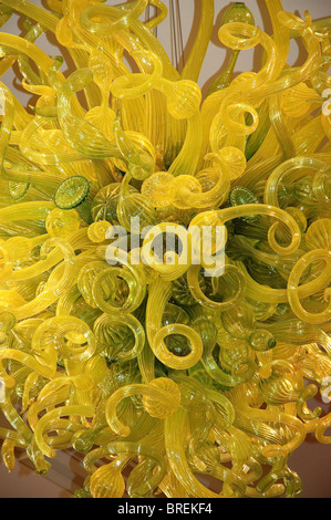 Glass chandelier by Dale Chihuly inside dining hall of Montezuma Castle, on campus of the United World College, - Stock Photo