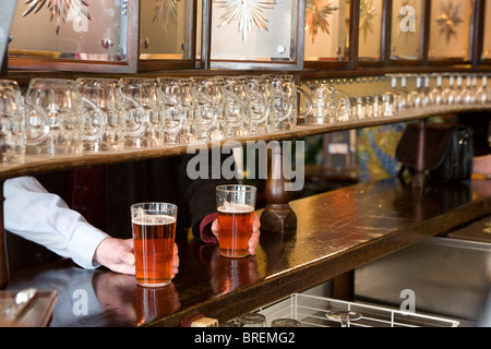 The Lamb a traditional pub in central London run byYoungs Britain's well known real ale brewer - Stock Photo