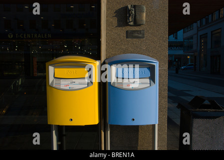 Postboxes central Stockholm Sweden Europe - Stock Photo