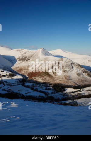 Snow covered Causey Pike and the Newlands Valley in winter, English Lake District. - Stock Photo