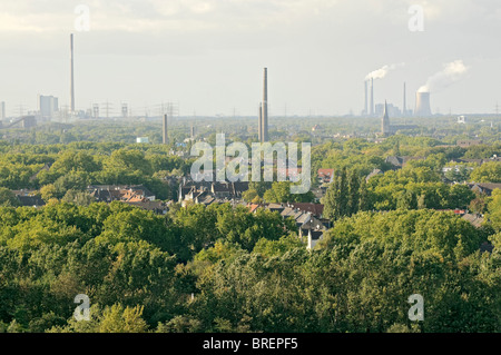 View of the Ruhr area looking west from Landschaftspark Duisburg-Nord, NRW, Germany. - Stock Photo