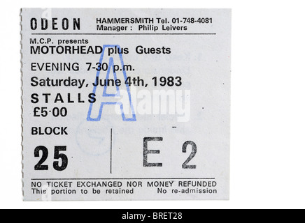 A concert ticket for Motorhead at the legendary Hammersmith Odeon - Stock Photo