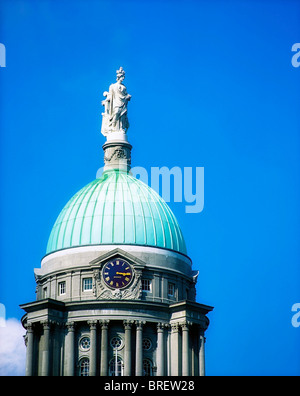 Detail Of Dome And The Statue Of Commerce, Custom House, Dublin, Ireland - Stock Photo