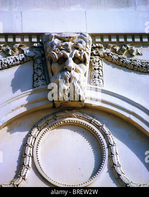 Dublin, Co Dublin, Ireland, Custom House, Architectural Detail Of River Gods Of Ireland On Portico - Stock Photo