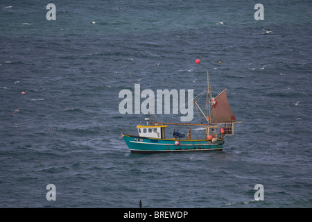 Fishing Boats in Newquay Harbour - Stock Photo