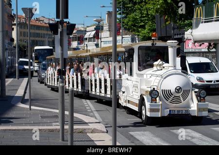 Tourist bus on sightseeing tour in Monte Carlo Monaco - Stock Photo