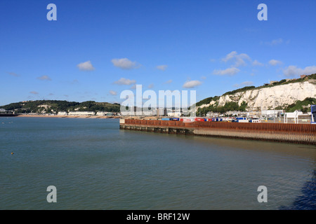 Views of the coastline of Dover the ferry port and the English Channel from Sea France passenger ferry, Summer 2010. - Stock Photo