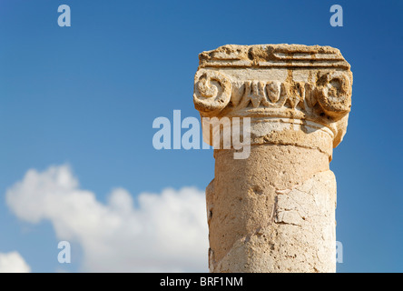 Ancient Greek column, capital, abacus, blue sky, white clouds, UNESCO World Heritage Site, Kato, Paphos, Pafos, Cyprus, Europe