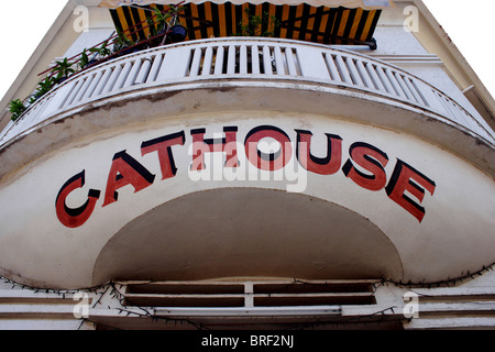 The Cathouse hostess bar and restaurant is part of the interesting urban landscape in Phnom Penh, Cambodia. - Stock Photo