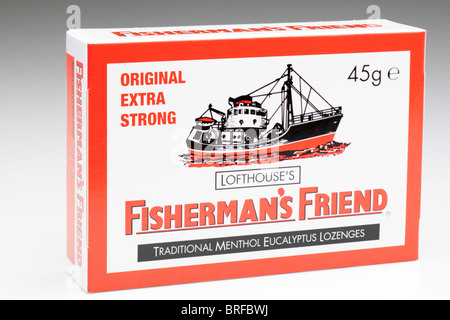 45g box of Lofthouse's original extra strong Fisherman's Friend traditional menthol Eucalyptus Lozenges - Stock Photo