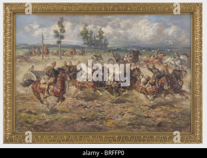 Anton Hoffmann (1863 - 1938) - 'Horse Artillery'., Oil on canvas. A gun battery in heavy gallop, in the foreground - Stock Photo