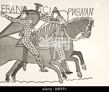 Fragment of  Bayeux Tapestry showing two mounted, armoured knights of William the Conquerors army in combat. - Stock Photo