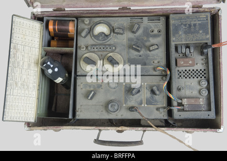 A cased SOE radio pattern MKII, sent by the 'Special Operation Executive' to the French Resistance. English made - Stock Photo