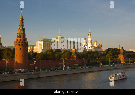 Sightseeing boat in front of the Kremlin Moscow Russia Europe - Stock Photo