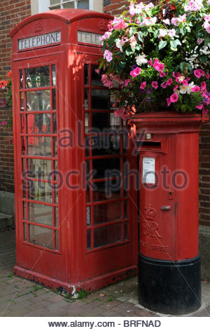 Telephone and Post box side by side in Sidmouth, Devon, England - Stock Photo