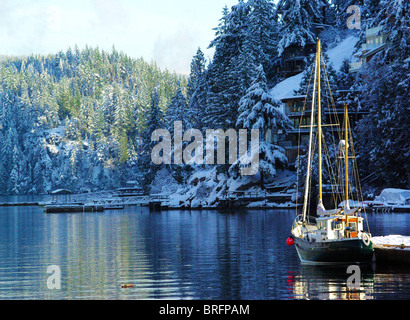 Winter in Deep Cove - Stock Photo