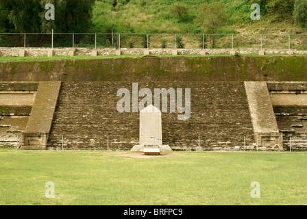 Pre-Hispanic ruins at southern base of Tepanapa Pyramid in Cholula, Puebla, Mexico. Cholula is a UNESCO World Heritage - Stock Photo