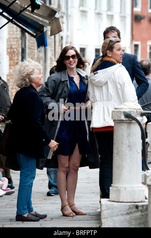 Filming of Carlsberg Beer advert with Actors and film crew and Paparazzi in Venice Italy - Stock Photo