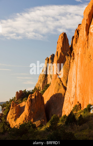 North Gateway Rock, Garden of the Gods.  Years of erosion create unique sandstone formations, Colorado, USA - Stock Photo