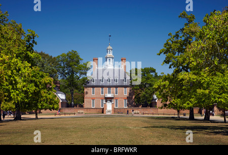 The Governor's Palace viewed from Palace Green, Colonial Williamsburg, Virginia, USA. - Stock Photo
