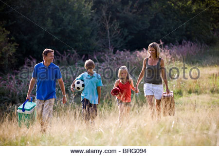 A family going on a picnic together - Stock Photo