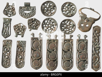 A set of Avar relics, Southeast Europe, 5th/6th century A.C. Bronze with greenish-brown patina. 22 different pieces, - Stock Photo