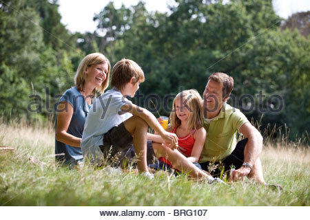 A family sitting on the grass, having a picnic - Stock Photo