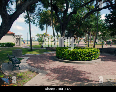 Riverfront Park at Cocoa in Florida sits on the Intracoastal Waterway at the Indian River Lagoon in Brevard County. - Stock Photo