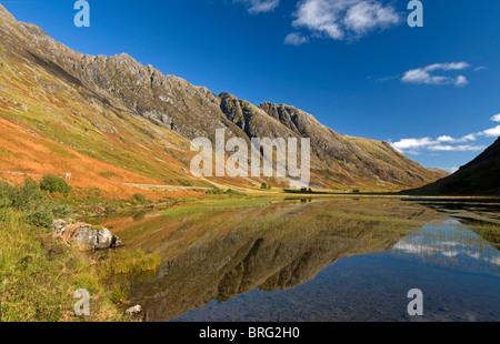 The Aonach Eagach ridge & Loch Achtriochtan in the Pass of Glencoe, Inverness-shire, Highland Region. Scotland. - Stock Photo