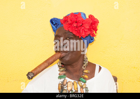 HAVANA: CUBAN WOMAN WITH CIGAR - Stock Photo